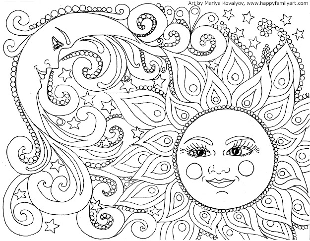 American Hippie Zentangle Coloring Page Art  Sun And Moon Printable