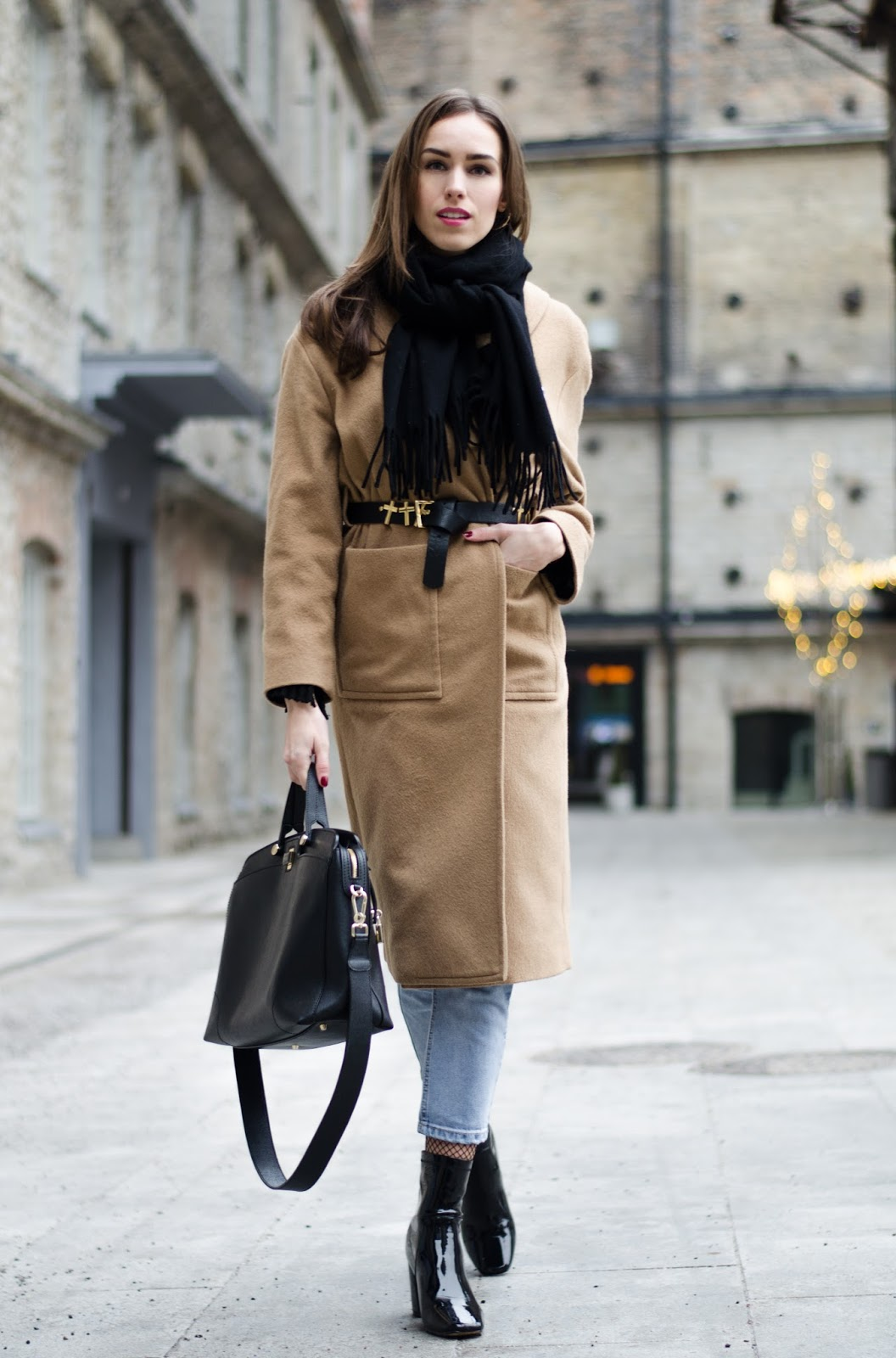kristjaana mere belt over coat outfit