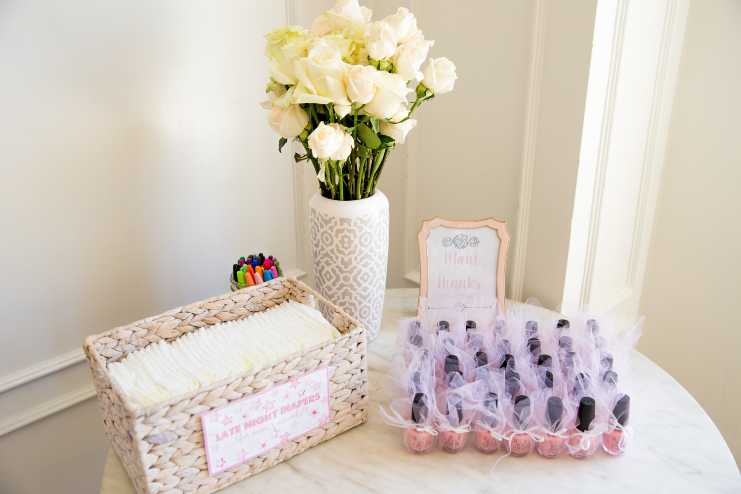 baby sprinkle diapers and nail polish favors