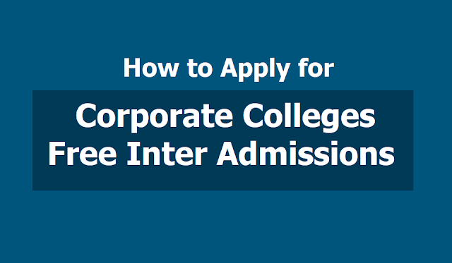 How to fill Corporate colleges Free Inter admissions Online application form 2019