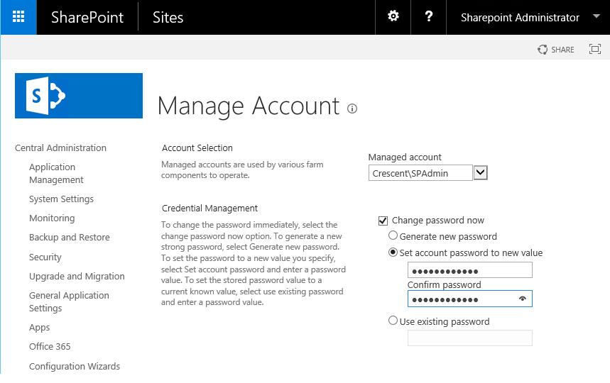 sharepoint 2013 reset farm account password