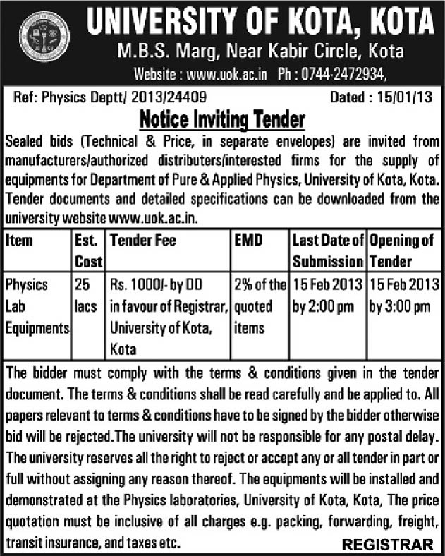 All Tenders Information University Of Kota Supply For