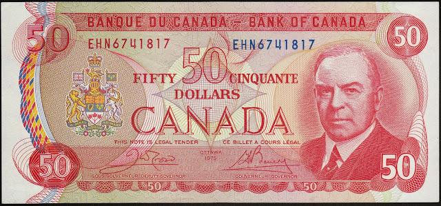 Canadian Banknotes 50 Dollar Note 1975 William Lyon Mackenzie King, Prime Minister of Canada