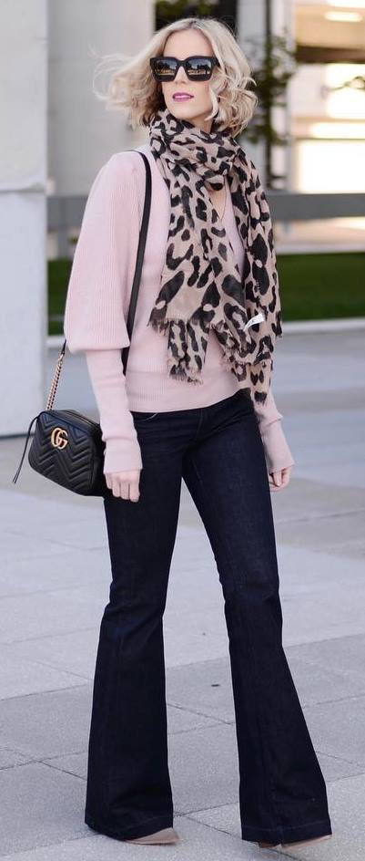 how to wear a printed scarf : nude top + bag + wide jeans