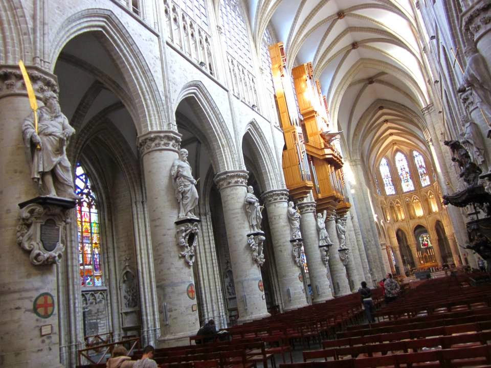 Inside the Cathedral of Brussels