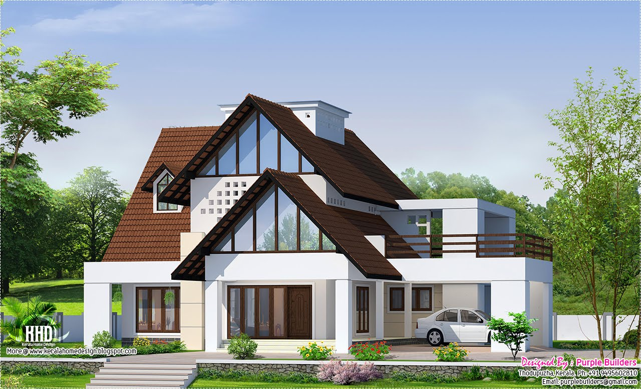 Two storey house has a total area of 2738 kerala for Western home plans