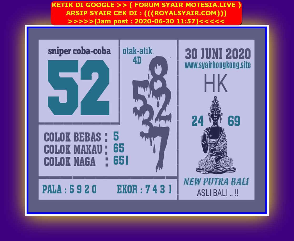 Kode syair Hongkong Selasa 30 Juni 2020 173
