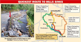 Rohini Road, the quickest route from Siliguri to Darjeeling shut down