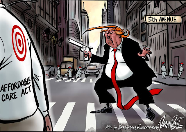 Donald Trump standing on 5th Avenue pointing gun at person labeled