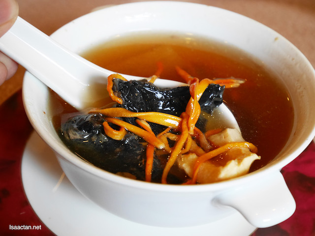 Double Boiled Cordyceps Flowers with Dried Scallops, Black Chicken and Fish Maw