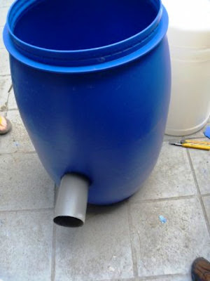 biogas Digester by plastic drum under construction