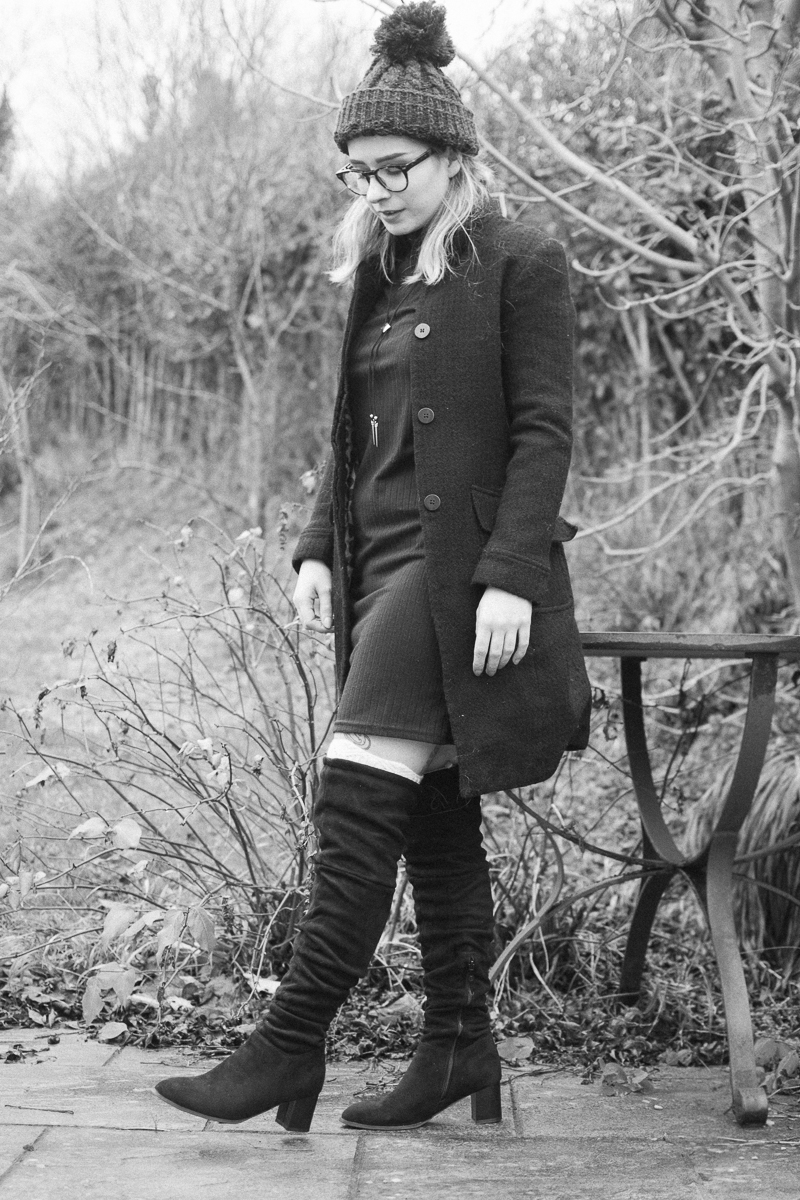 over knee boots monochrome outfit ootd