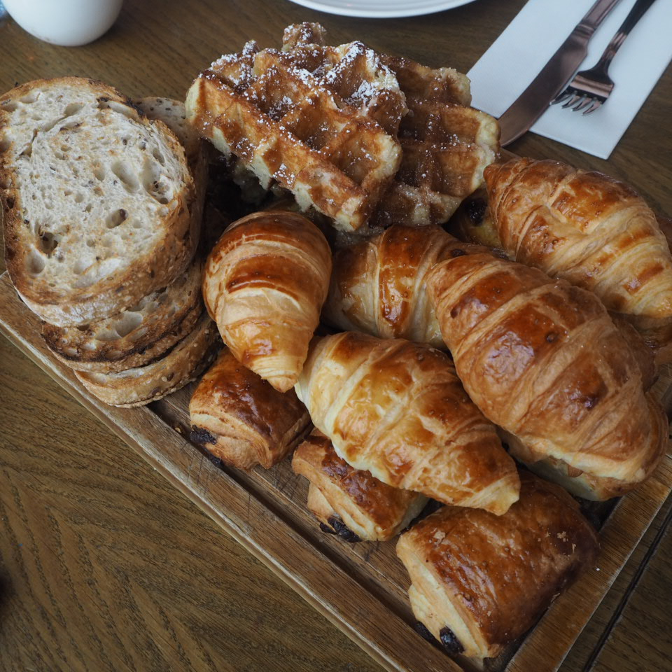 Toast, waffles, croissants, pastries