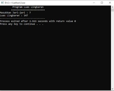 program mengiting luas lingkaran pada C++