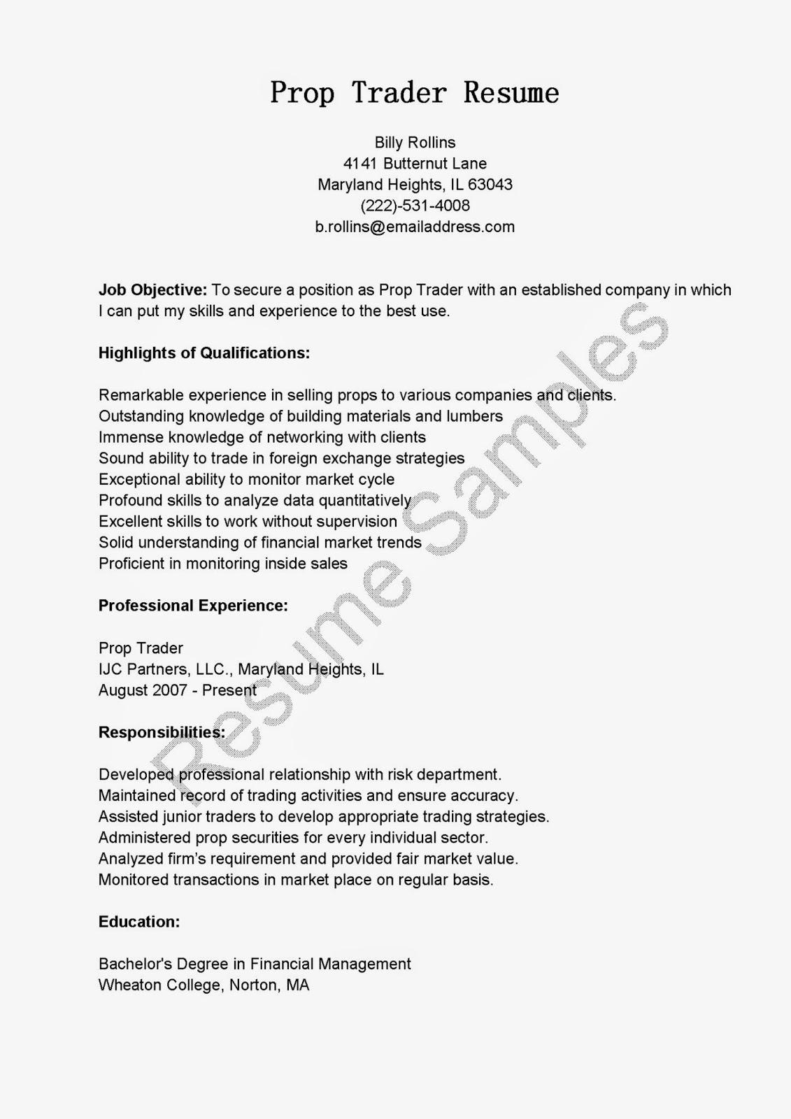 resume samples  prop trader resume sample