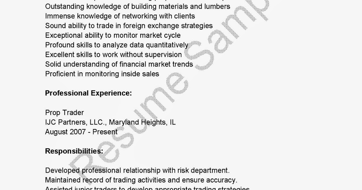 Forex trader resume example