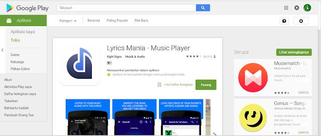 aplikasi android untuk menampilkan lirik Lyrics Mania – Music Player
