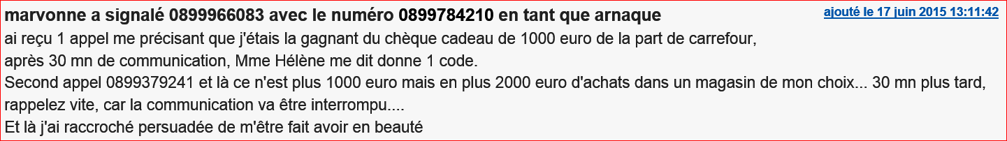 arnaque 1000 euros