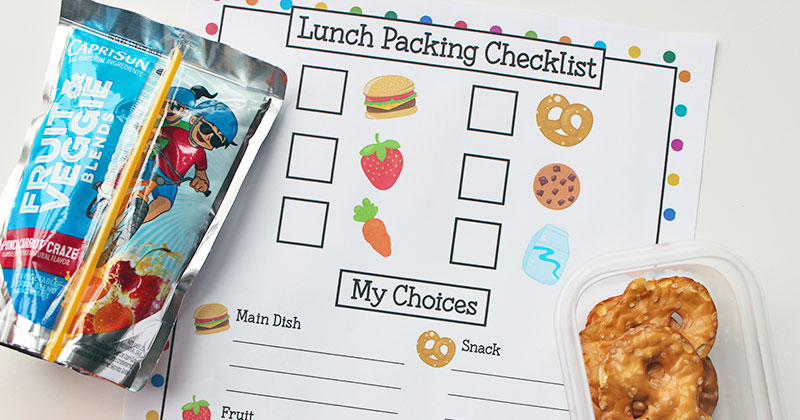 Easy Kids Lunch Box Packing Checklist | Free Printable