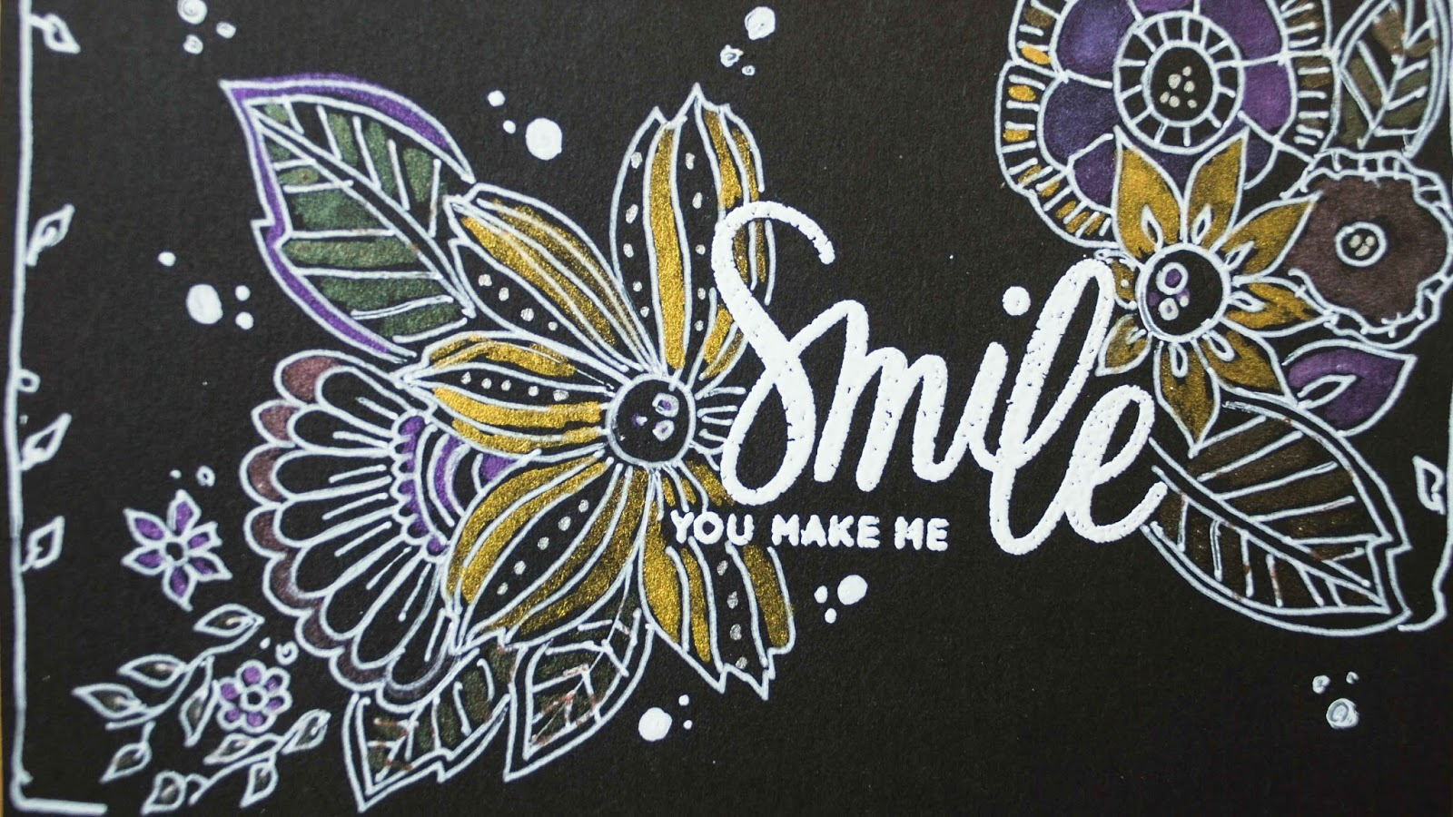 handdrawn doodle flowers arround white embossed sentiment twinkling H2o flower detail