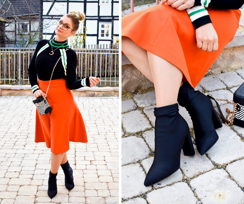 Was passt zu Orange? Outfit mit Orange. Modeblogger Look mit Orange.