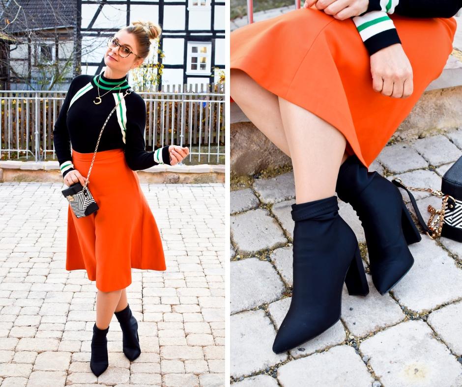 Was passt zu Orange? Outfit mit Orange. Modeblogger Look mit Orange.