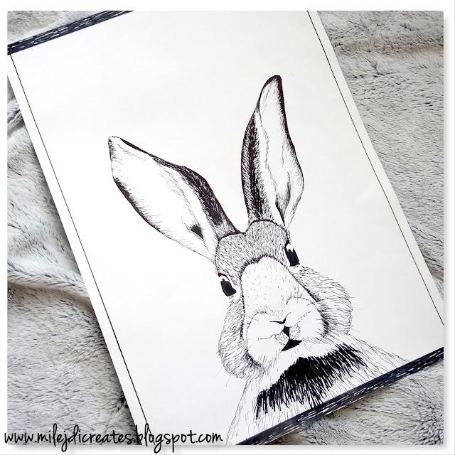 """Obrazek plakat """"Królik"""" DIY do pokoju, czyli jak wykorzystałam stary kalendarz // Rabbit picture DIY"""