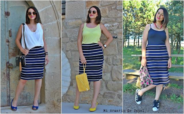 Foto Resumen Ideas para Combinar Falda Tubo Rayas Zara
