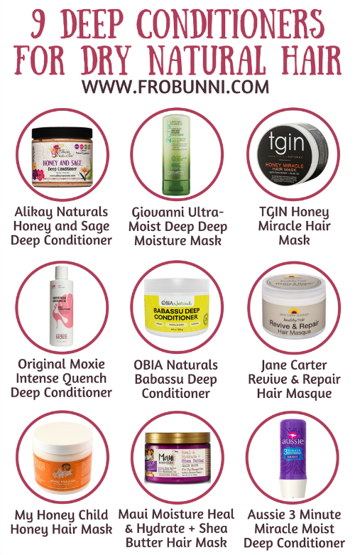 FroBunni | 9 Moisturizing Deep Conditioners for Dry Natural Hair Infographic