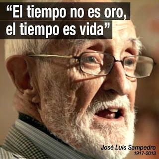 """Fotografía de Sampedro con el texto sobrescrito: """"El tiempo no es oro, el tiempo es vida"""""""