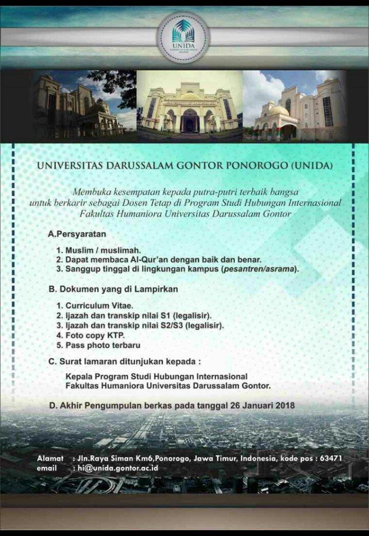 Lowongan Dosen Universitas Darussalam Gontor Ponorogo (UNIDA)