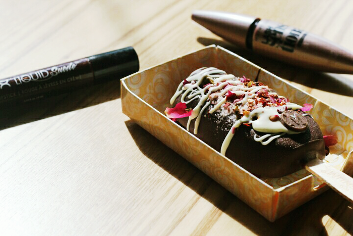 The Mayden's flatlay of a Magnum Ice Cream with Rose Petals, Sea Salt and Chilli Flakes