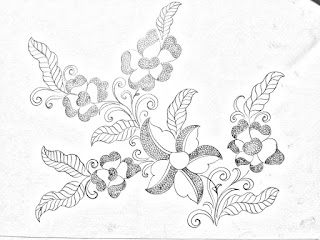Floral patterns draw for hand embroidery saree designs