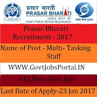 Prasar Bharati Recruitment for Multitasking Staff 2017