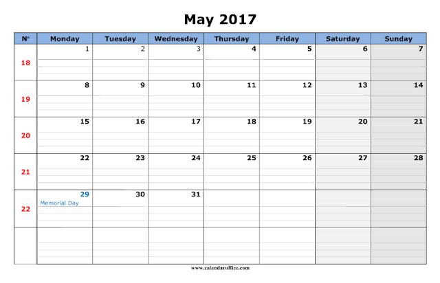 May 2017 Printable Calendar, May 2017 Calendar, May 2017 Calendar Printable, May 2017 Calendar Templates, May 2017 Calendar Holidays, May 2017 Blank Calendar