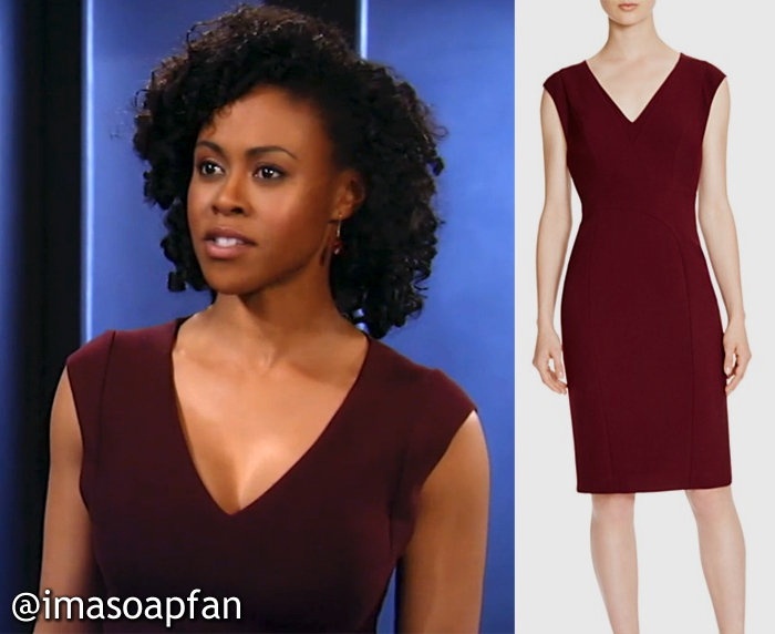 Jordan Ashford, Vinessa Antoine, Burgundy V-Neck Sheath Dress, Karen Millen, GH, General Hospital,