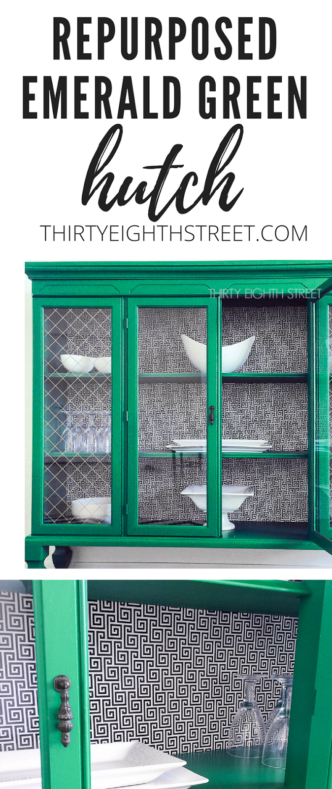 upcycling a hutch, up cycle a hutch, turn a hutch into a cabinet, add feet to furniture, add fabric to back of furniture, repurposed furniture, green china hutch, green china cabinet