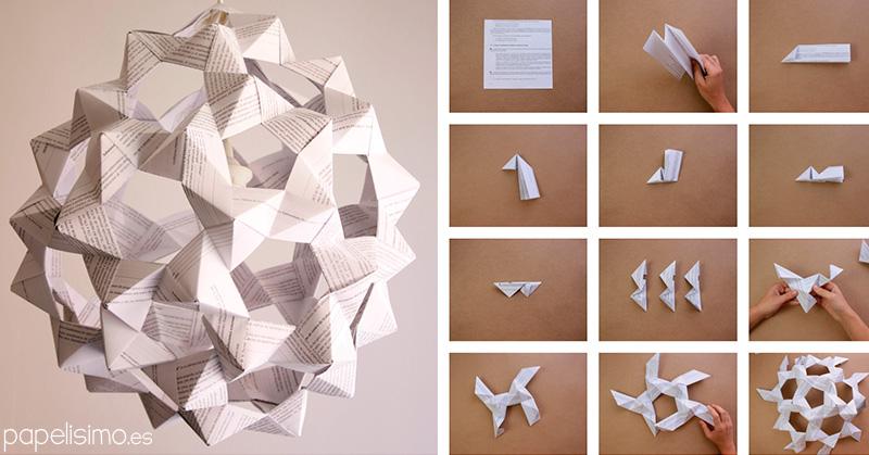 Lampara en origami y lanza primitiva - Lamparas de techo de papel ...
