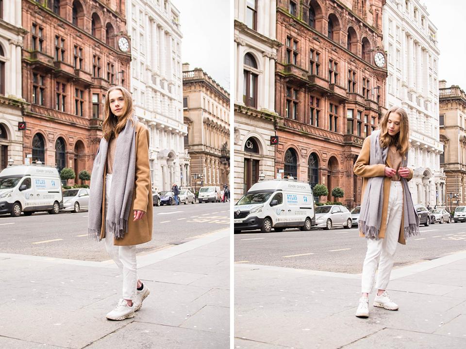 Neutral fashion blogger outfit with white mom jeans and camel coat - Neutraali asu valkoisten farkkujen ja kamelitakin kanssa, muotibloggaaja