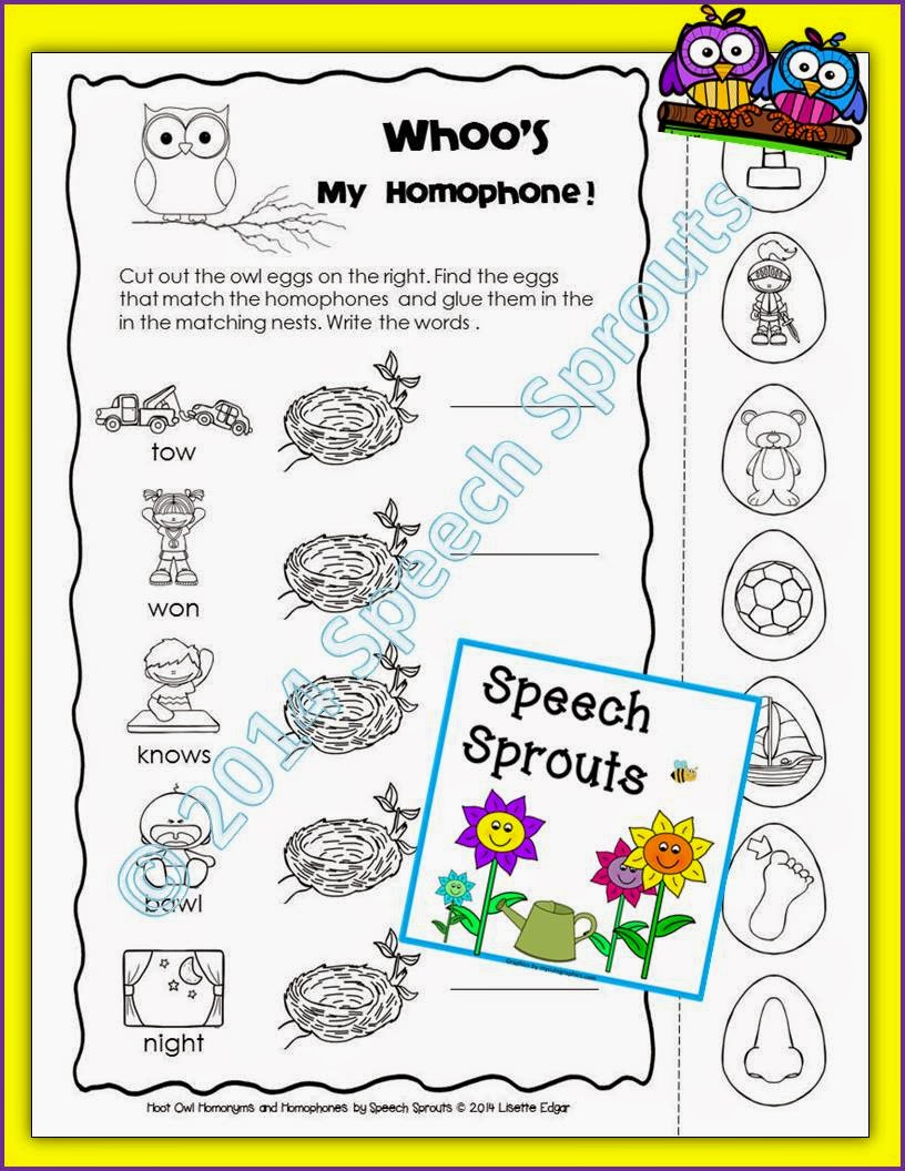 http://www.teacherspayteachers.com/Product/Free-Hoot-Owl-Homonyms-Multiple-Meanings-Speech-Therapy-Freebie-Sampler-1403892