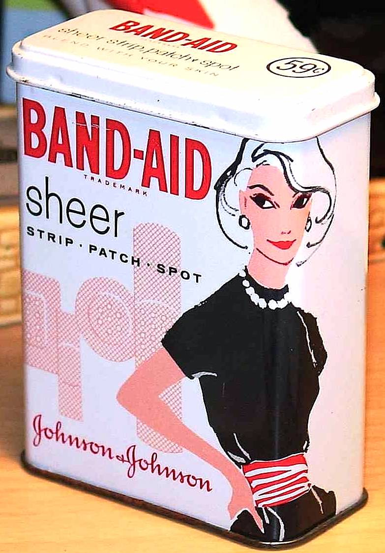 1958 Band-Aid Sheer adhesive bandages, color photograph package