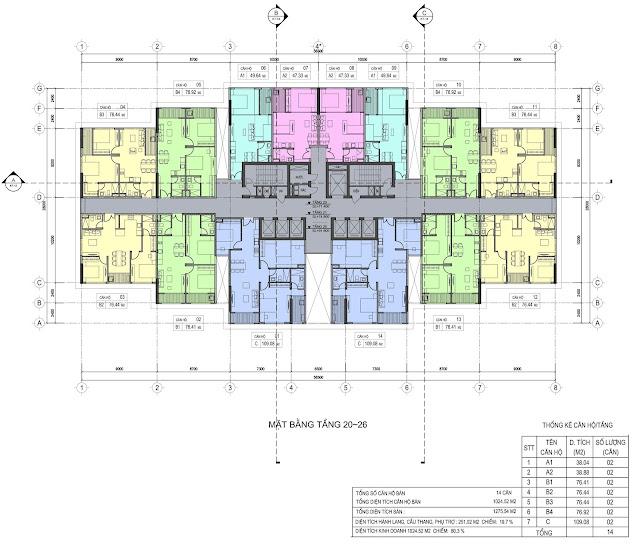 Mặt bằng tầng 20-26 dự án Del Dorado Phú Thanh