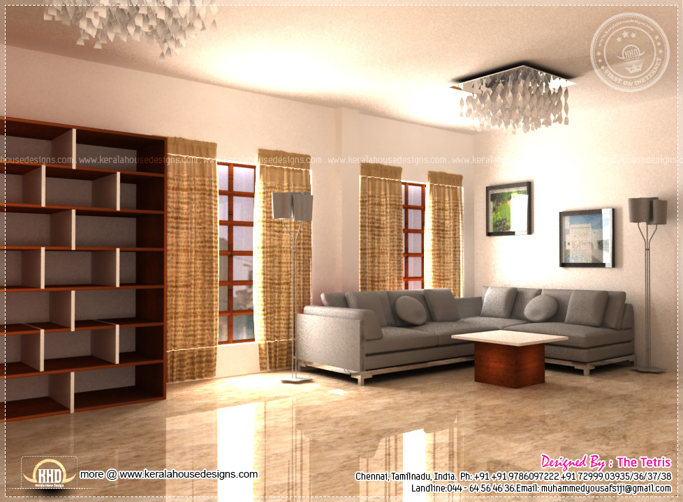 Interior design renderings by tetris architects chennai for Simple living room designs in kerala