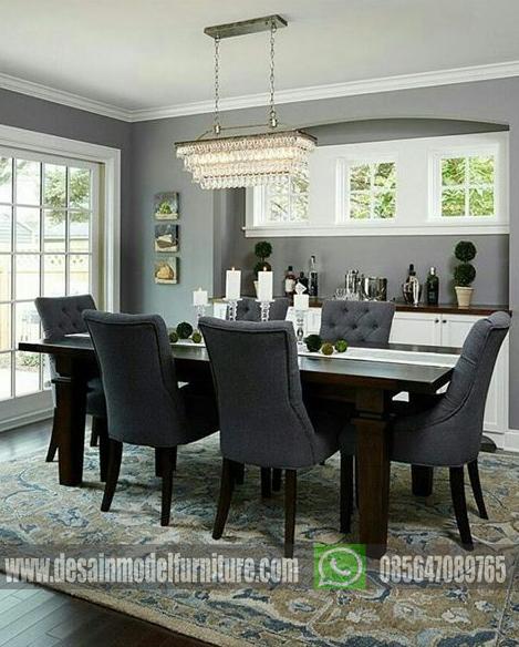 Set meja makan minimalis 6 kursi kayu jati asli