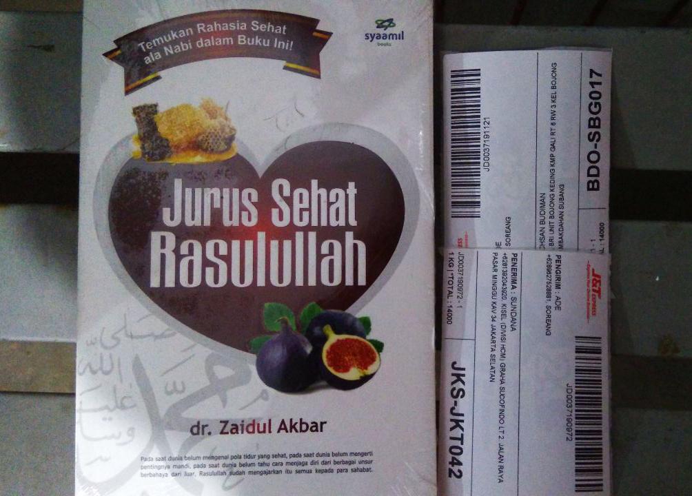 alamat pengiriman buku Jurus Sehat Rasulullah antara lain; Bandung, Subang, Jakarta dan Tangerang.