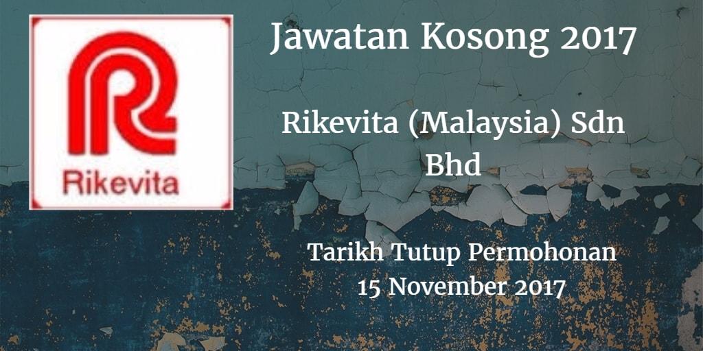 Jawatan Kosong RIKEVITA (MALAYSIA) SDN BHD 15 November 2017