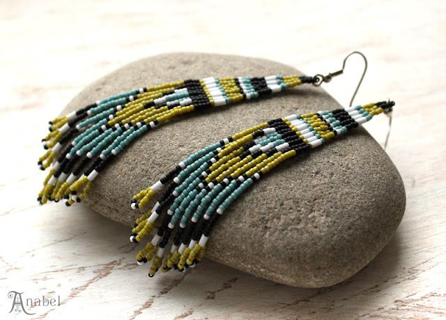 купить украшения из бисера серьги в этническом стиле яркие