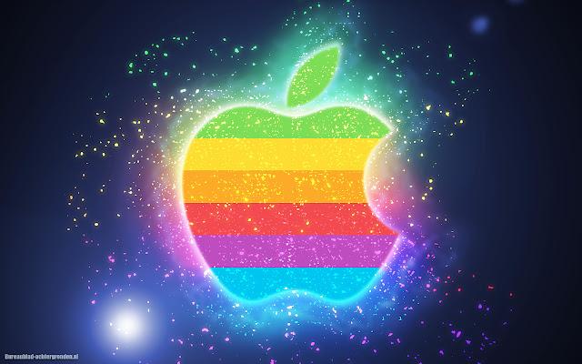 Gekleurde lichtgevende iPhone achtergrond met Apple logo