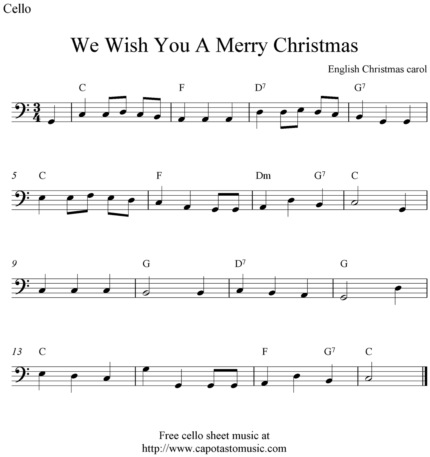 Free Christmas Cello Sheet Music, We Wish You A Merry