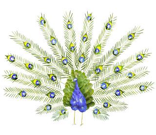 Pájaros exóticos hechos con plumas.